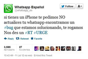 WhatsApp problemas actualización iPhone